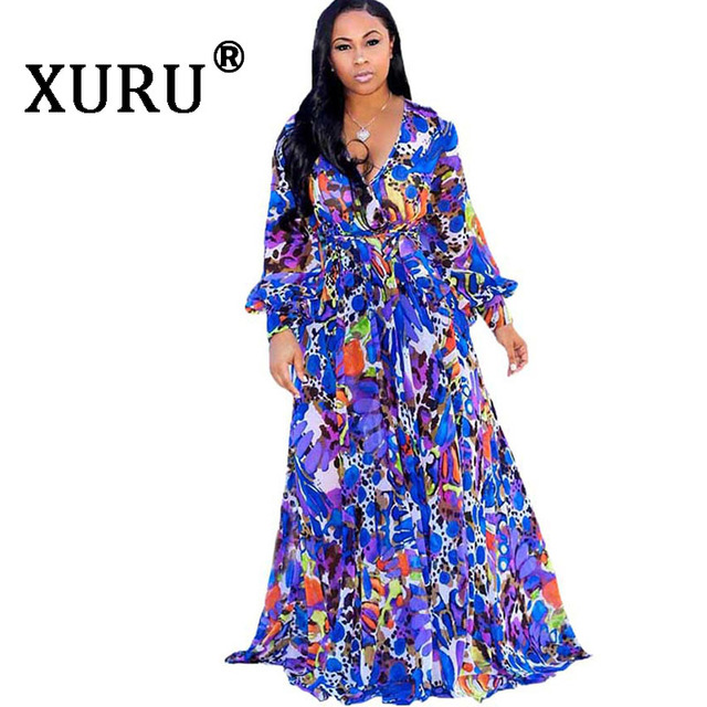 XURU chiffon print dress beach large size dress S-5XL women's long sleeve V-neck casual loose dress 3