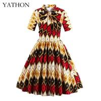 Vintage geometrie patroon casual party dress womens 50 s 60 Retro Stijl robe femme Plus size Wiggle Baljurk Jurken YATHON