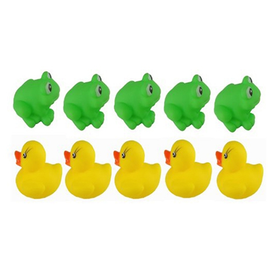 New 1 set of Frogs & Ducks 5Pcs+5Pcs Baby Bath Tub Toys
