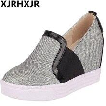 XJRHXJR Shoes Women Color Mixed Loafers Casual Hidden Heel Woman Slip On Platform Flats Female Ballet Big Size 33-43