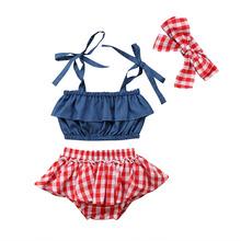 2018 Newborn Kids Baby Girl Plaid Strap Tops Demin Red Shorts Skirts Headband Summer Cute Set Outfits