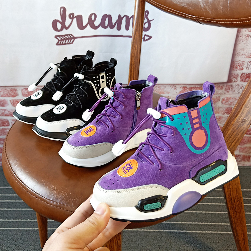 High Quality High Help Vintage Suede Leather Children Casual Shoes New Fashion Patch Boys Girls Sneakers Kids Shoes new high quality vintage casual 100