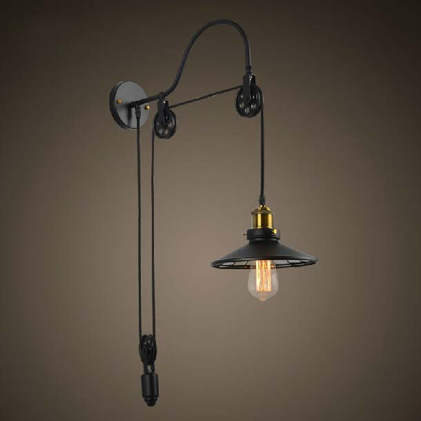 Wall Lamps Retro : American country pulley telescopic bracket light coffee bar restaurant bedroom a study retro ...