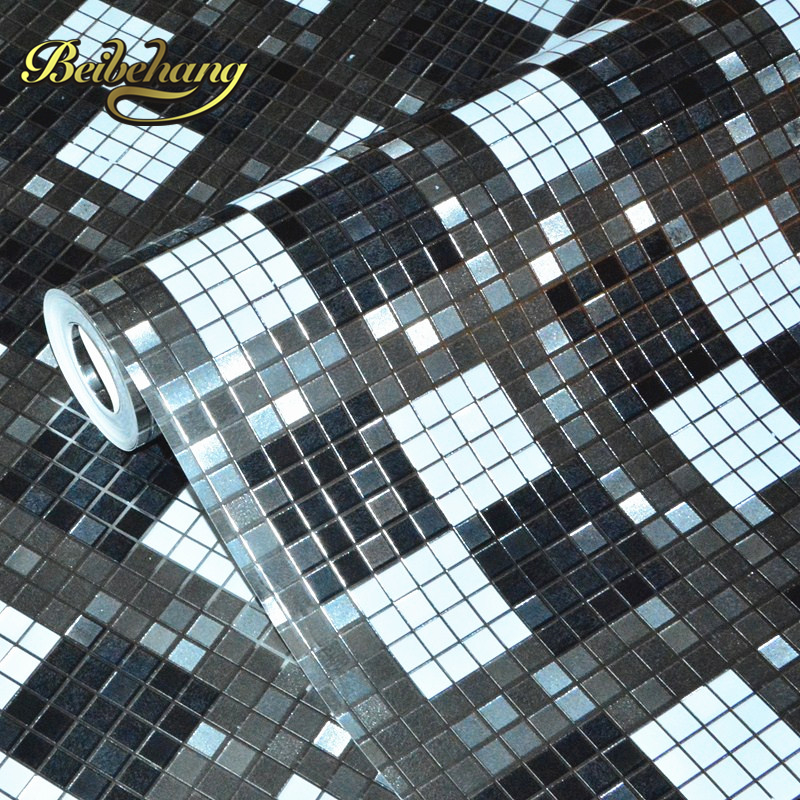 beibehang Mosaic black and white ash multicolor checkered gold reflective background KTV bar cashier salon wallpaper beibehang roof black white square checkered 3d wall paper salon shop clothing store restaurant checkout ktv background wallpaper