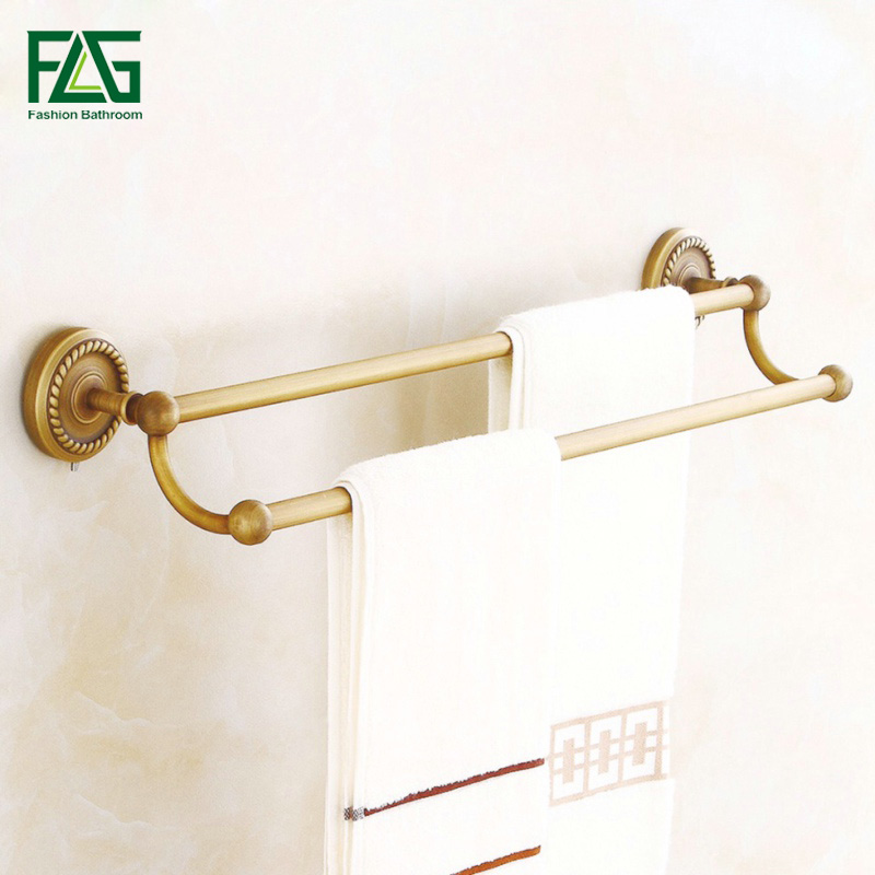 FLG 100% Brass Bathroom Double Rods Towel Bars Rack Wall Mounted Antique Towel Hanging Shelves High Quality,Free Shipping 80108 aputure ls c300d cri 95 tlci 96 48000 lux 0 5m color temperature 5500k for filmmakers 2 4g remote aputure light dome mini