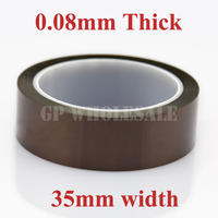1x 35mm 33M 0 08mm 80um Adhesive Polyimide Film Tape Capacitance Motor Transformer Coil Insulate Tape