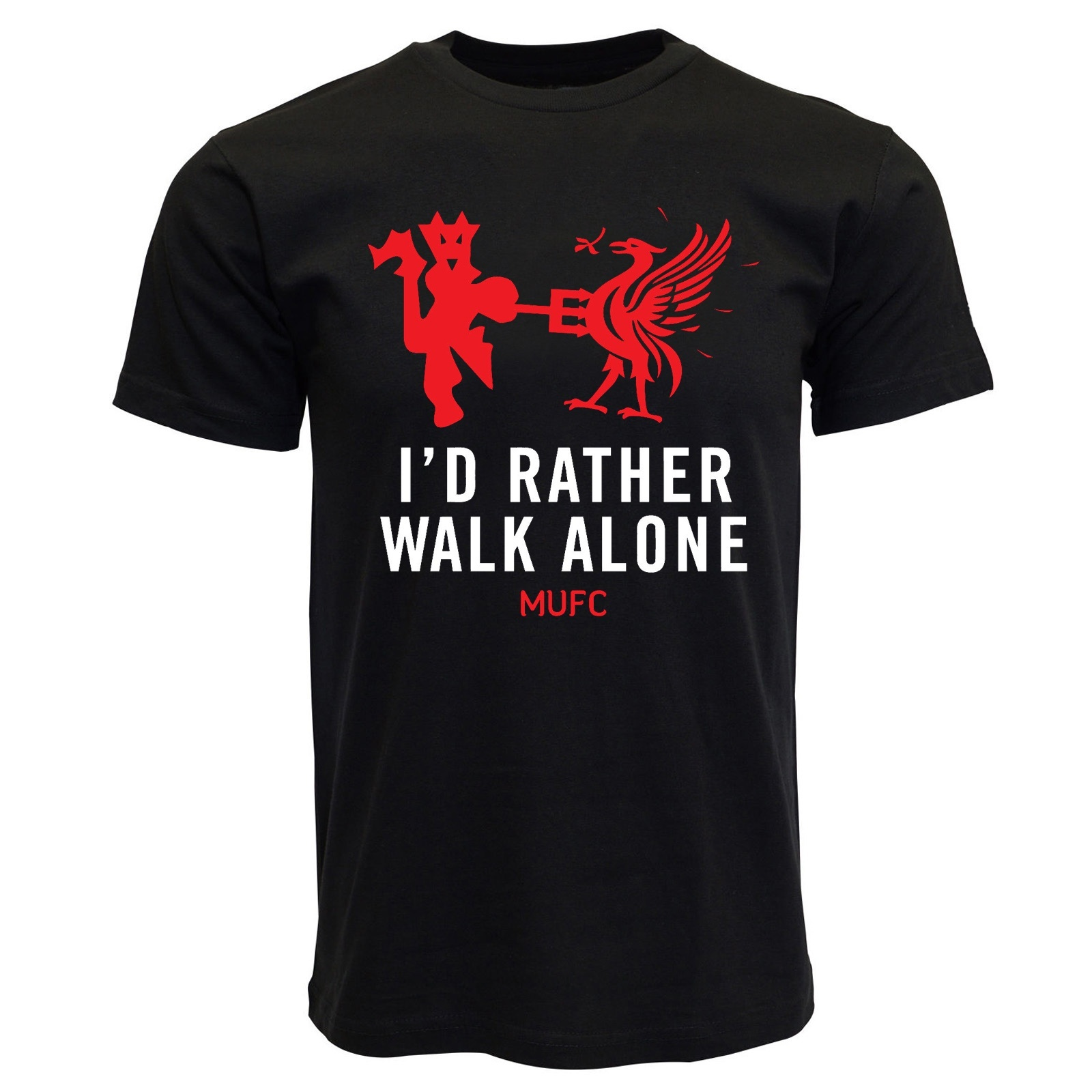 I'd Rather Walk Alone Manchester United Mens   T     Shirt   Graphic Tee Cotton   Shirts   Casual Tops,Football Soccer Man U Pogba Lukaku