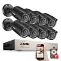 ZOSI 720P 8 CH 8 Cámaras 1TB Disco Duro Visión Nocturna 20m 24 LEDs Impermeable Detección de Movimientos