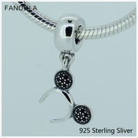 Fits Jewelry Bracelets 925 Sterling Silver Headband Silver Dangle With Black Crystal Charms Suitable For Bracelets
