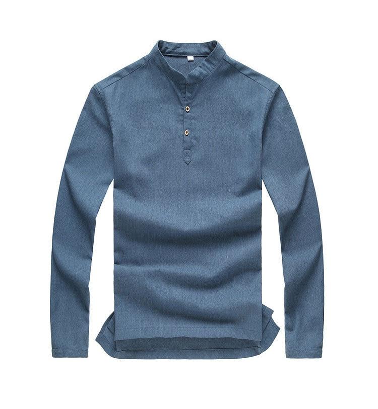 Online Shop Asian fashion mens pullover shirt longsleeve linen ...