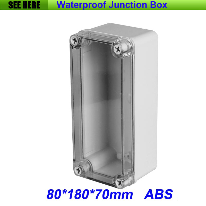 Good Quality ABS Material Clear Cover IP66 Waterproof Junction Box Cable Gland 80*180*70mm