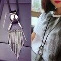 Nueva borla collar de plata para las mujeres de cuero larga amistad choker collar femme neckless joyería bohemia bar collar jewlry