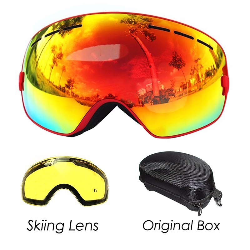 COPOZZ Ski Goggles With Lens And Box Case Ski Mask UV400 Anti-fog Snow Goggles Big Spherical Skiing Snowboarding For Men Women