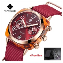 WWOOR Brand Luxury Women Chronograph Watches Quartz Dress Watch Ladies Nylon Strap Lady Wrist 2019 Relogio Feminino