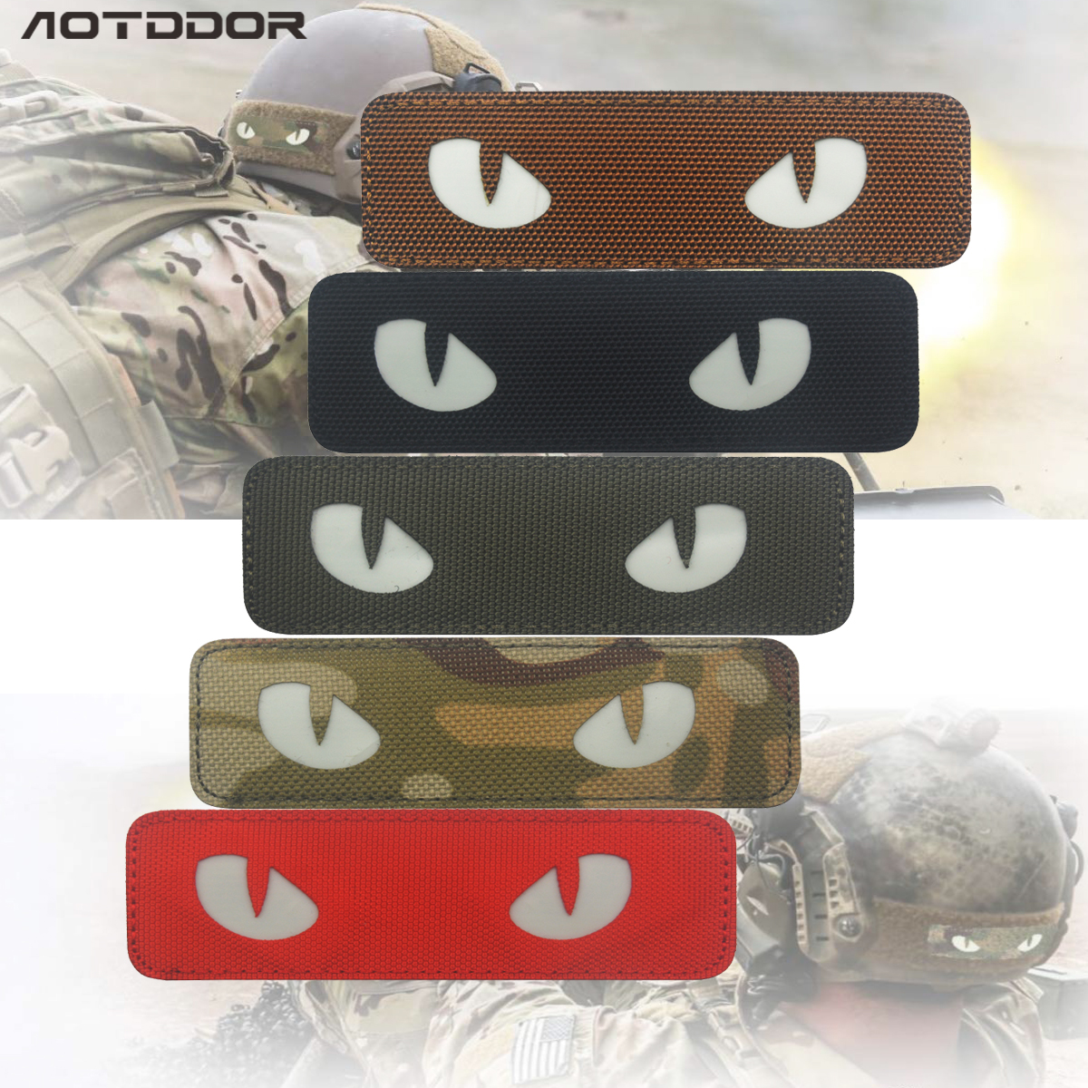 3D PVC Cat Eye Patch Reflective EMT IR Patches Military Tactical Morale Patch Rubber Biker Fastener Glow In Dark Badges