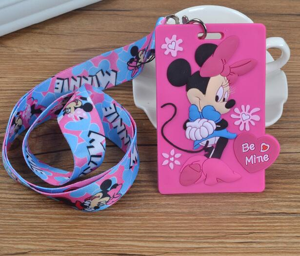 Retail 1 Pcs Cartoon Minnie Pvc Card Holder Identity Badge With Lanyard Neck Strap Card Bus ID Holders With Key Chain