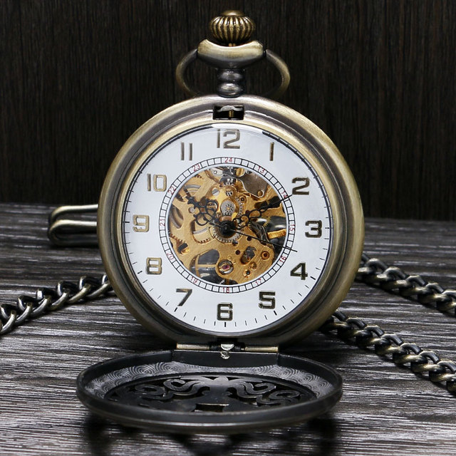 Chines Knot Design Skeleton Mechanical Watch Men Women Senior Gifts Steampunk Hand-winding Nurse Pocket Watch Pendant Fob Chain