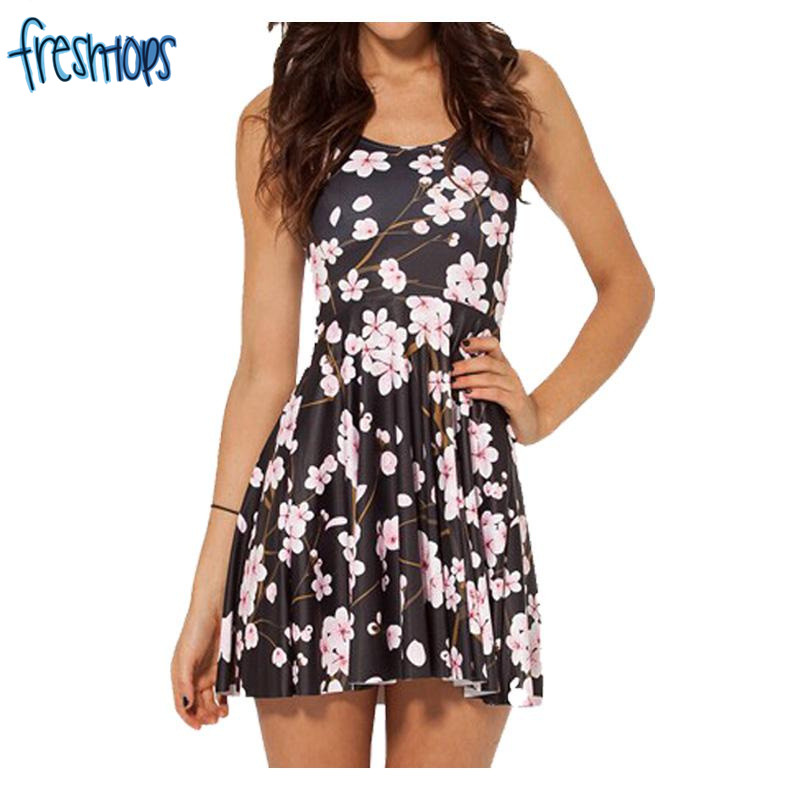 X 348 Cherry Blossom Black Reversible Skater Dress Cartoon Pleated Dress Casual-in Dresses from ...