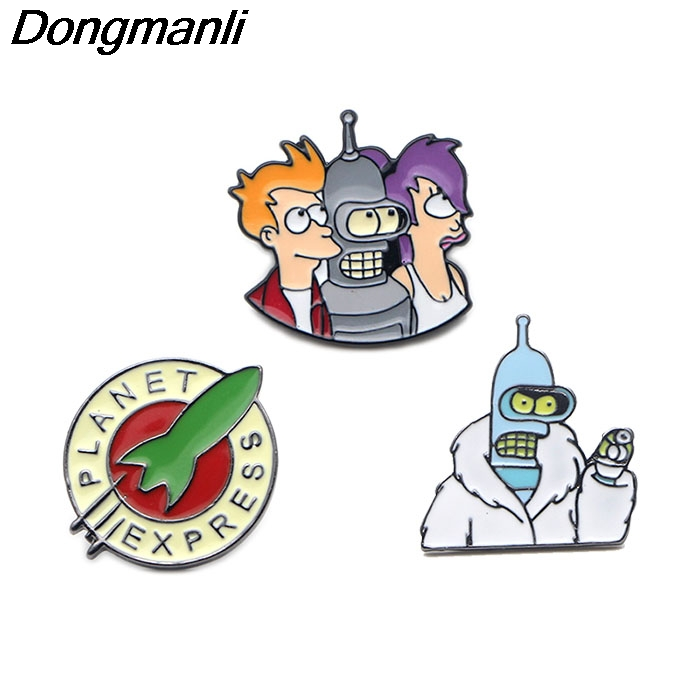 P2788 Dongmanli Wholesale 20pcs lot Futurama Enamel Pins and Brooches for Women Men Lapel pin backpack