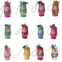 Traditional Russian Nesting Dolls Matryoshka Doll Set Keychain Phone Hanger Bag Gift Painted Handmade Souvenir Toys for Children(China)