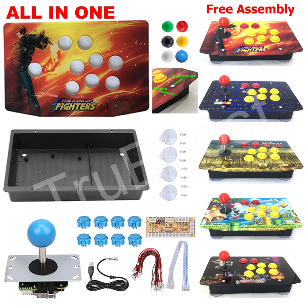 DIY Arcade Joystick Kits 5Pin Joystick Acrylic Artwork Panel Case Buttons Encoder 6 Colors Free Assembly