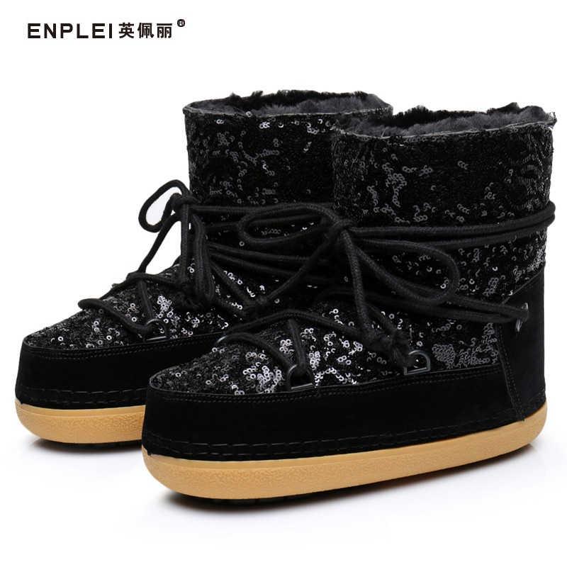 ENPLEI Brand Women Winter Snow Boots Ankle Warm Fur Shoes Female Platform  Non Slip Bling Boot 886972c1e86b