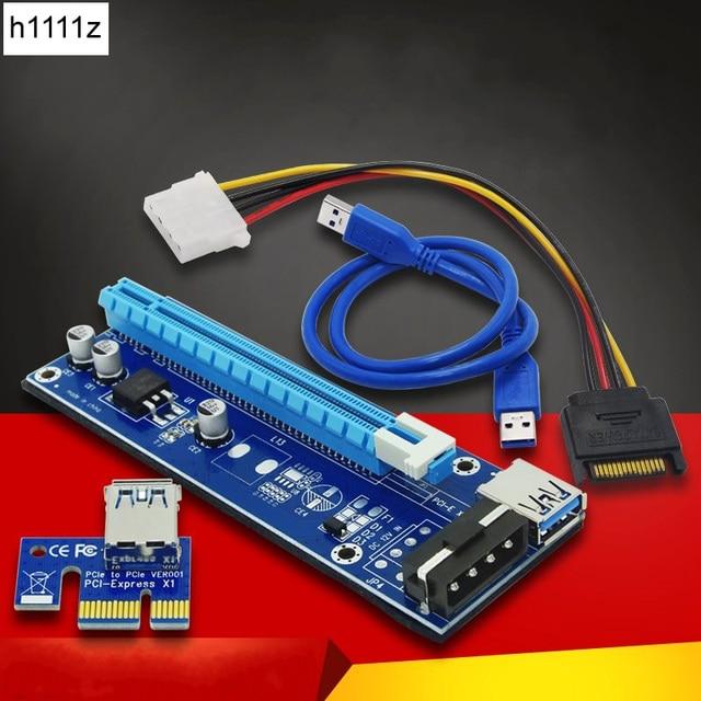 Calidad Superior PCI Express Cable PCI-E 1X a 16X Riser tarjeta Extender SATA 15 Pin 4 Pin IDE alimentación suministro para la minería bitcoin
