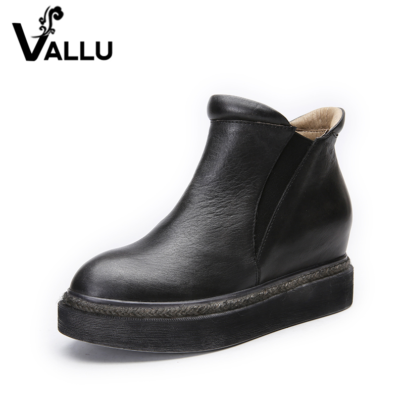 2018 VALLU Genuine Leather Shoes Flat Platform Women Boots Round Toes Retro Handmade Ankle Boots
