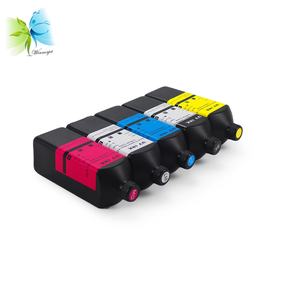 Winnerjet 5 liters LED UV Ink For Epson dx5 dx7 printhead uv inkjet printer ink for corrugated packaging box printing curing