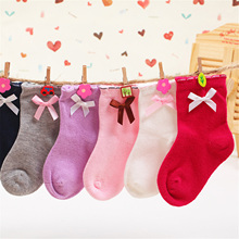 Baby Girls Socks Lovely Princess Cute Bow Solid Color Socks Kids Children Accessories