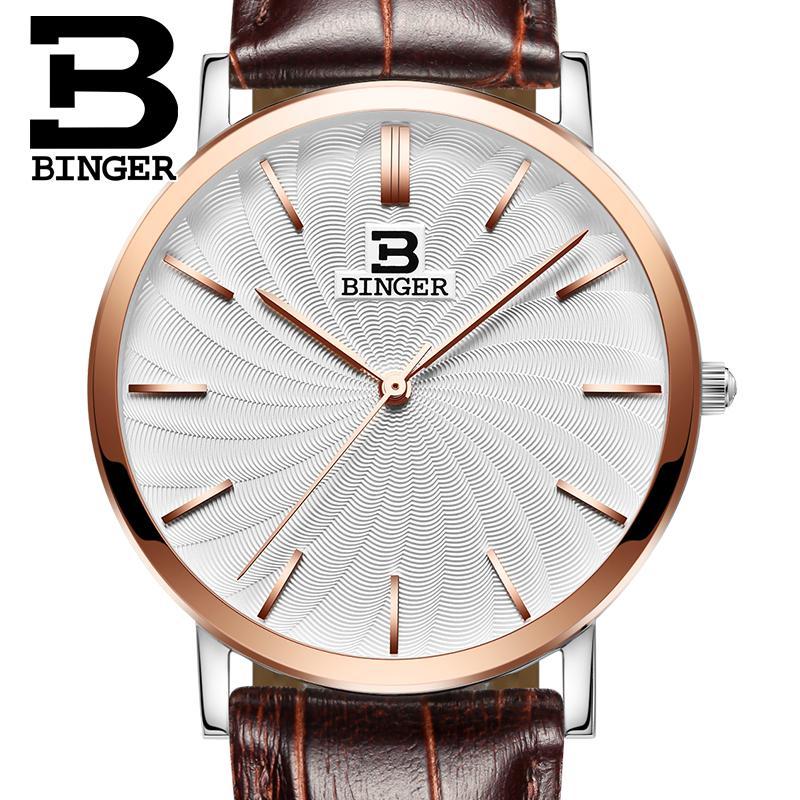 Switzerland BINGER men's watch luxury brand quartz leather strap ultrathin Wristwatches Waterproof clock B3051M-6 switzerland binger relogio masculino luxury brand quartz leather strap ultrathin wristwatches waterproof clock b3051m 6