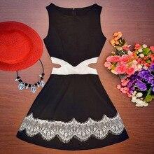 Seksi Hanım A-Line Casual Mini Vestido Delikler Ile Beyaz ve Siyah Dantel Kolsuz Bel Elbiseler Y8664