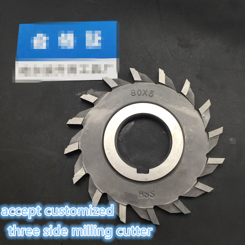 Straight Teeth Side Milling Cutter 3  Sides Cutter  Milling Cutter  With High Speed Steel   80mm*5mm
