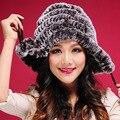 CY 123060 2016 New Women's Real Rex Rabbit Fur Hat Winter Skullies Beanie Ear Muff Ear Pompom Real Knitted Fur Hats Female