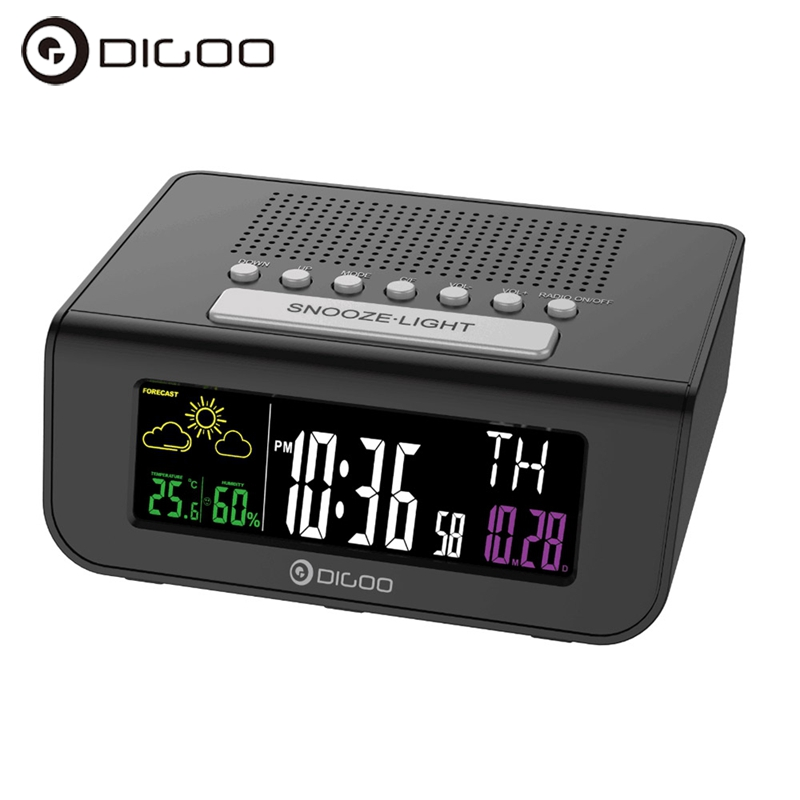 Digoo DG-FR100 Wireless Digital Alarm Clock Weather Forecast Sensor Sleep with FM Radio Clock Mutifunctional Colorful Screen