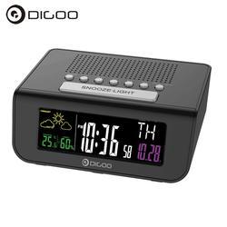 Digoo DG-FR100 Беспроводной цифровой будильник прогноз погоды Сенсор сна с fm Радио часы mutifunctional красочные Экран