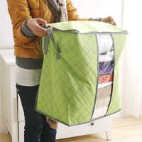 Bolsa de almacenamiento portátil, organizador de ropa de bambú, caja de almacenamiento con bolsillos, no tejida, gran oferta, 2020