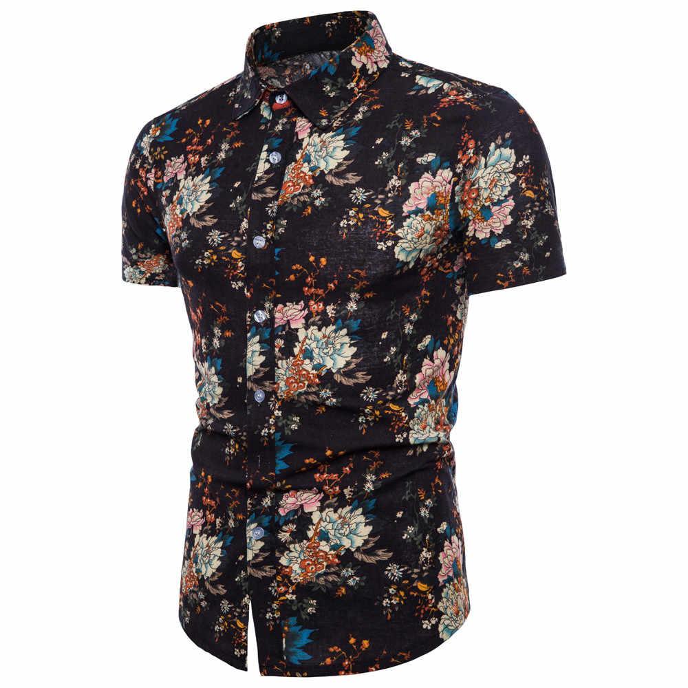 2019 גברים בתוספת גודל קיץ Bohe פרחוני קצר שרוול פשתן בסיסי חולצה חולצה למעלה בתוספת גודל 5XL camisa masculina הוואי חולצה