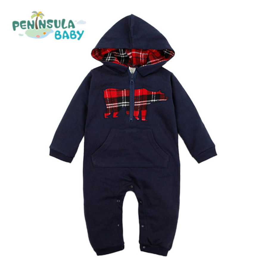Baby Rompers Newborn Hooded Clothes Infant Hoodies Boys Jumpsuits For Autumn Winter Toddler Kids Girls Cartoon Clothing new 2016 autumn winter kids jumpsuits newborn baby clothes infant hooded cotton rompers baby boys striped monkey coveralls