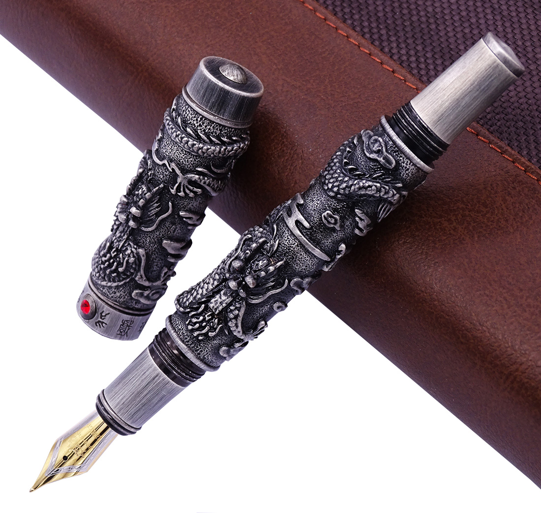 Jinhao Vintage Luxurious Fountain Pen Double Dragon Playing Pearl, Ancient Gray Metal Carving Embossing Heavy Pen CollectionJinhao Vintage Luxurious Fountain Pen Double Dragon Playing Pearl, Ancient Gray Metal Carving Embossing Heavy Pen Collection