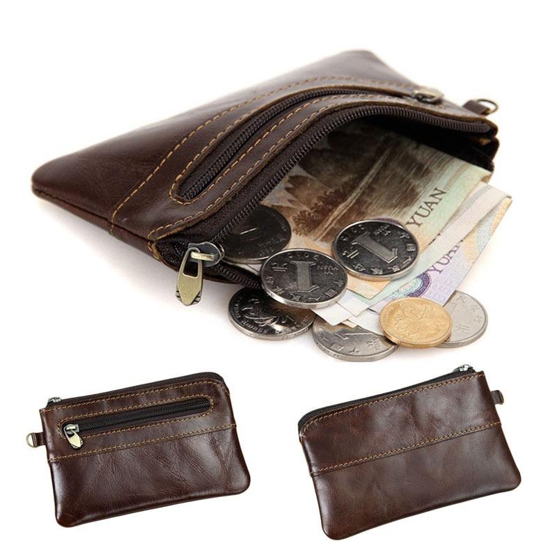 THINKTHENDO Fashion Genuine Leather Coin Purse Zipper Wallet Card Holder Vintage Retro for Men Women