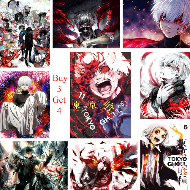 246 Tokyo Ghoul Anime Posters White Coated Paper Prints Clear Image Home Decoration Livingroom Bedroom Bar Home Art Brand