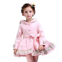 Spring Autumn Girls Windbreaker Jacket Long Style Kids Trench Coat Girls Fashion Hooded Children Outerwear Casaco