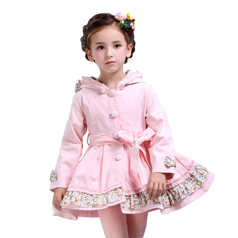Spring Autumn Girls Windbreaker Jacket Long Style Kids Trench Coat Girls Fashion Hooded Children Outerwear Casaco DQ573Spring Autumn Girls Windbreaker Jacket Long Style Kids Trench Coat Girls Fashion Hooded Children Outerwear Casaco DQ573