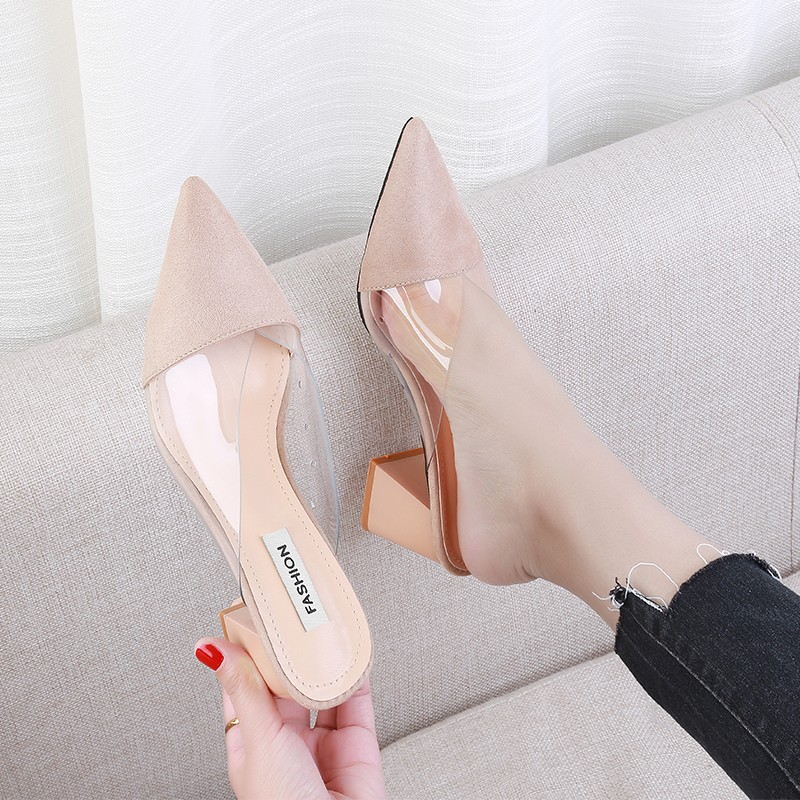 New Summer Slippers Women Shoes Woman Mules Transparent Fashion Pointed Toe Flock Square High Heels Slides Sexy Ladies Shoes