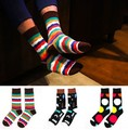 3 pairs/lot winter happy socks men stripes baseball socks men male long socks chaussette homme Series meias masculinas