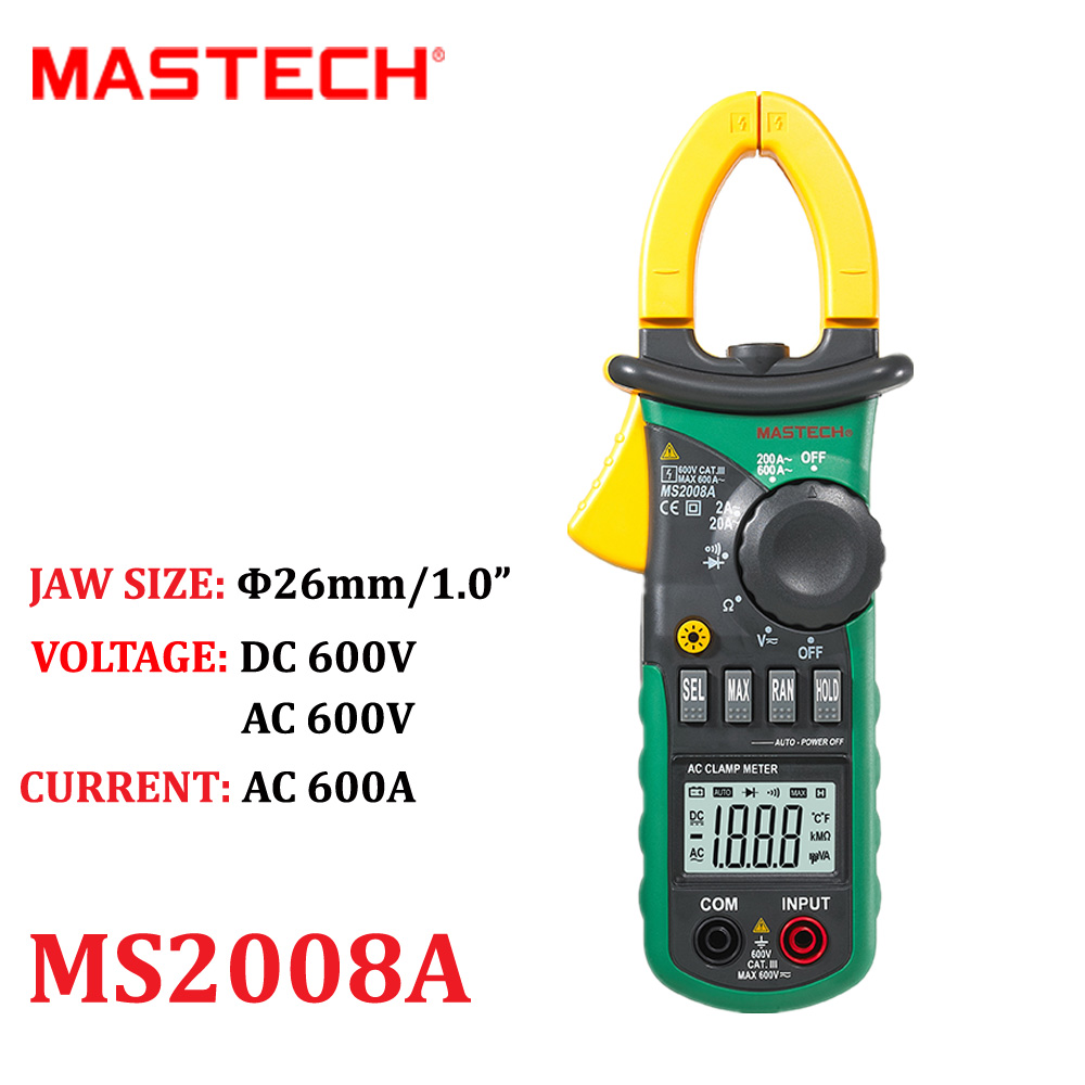 Digital Clamp Meters MASTECH MS2008A Auto Range Meter Ammeter Voltmeter Ohmmeter Current Voltage Tester LCD Backlight