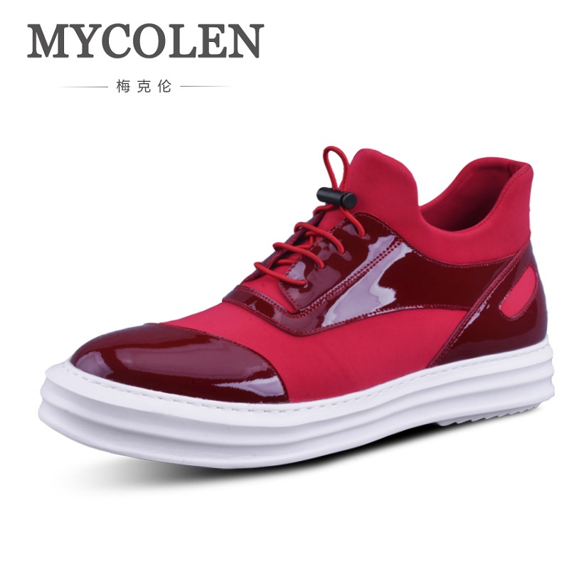 MYCOLEN Height Increasing Men Shoes Loafers For Men Cow Leather Flats Shoes For Men Lace Up High-Top Sneakers Zapatos Hombre