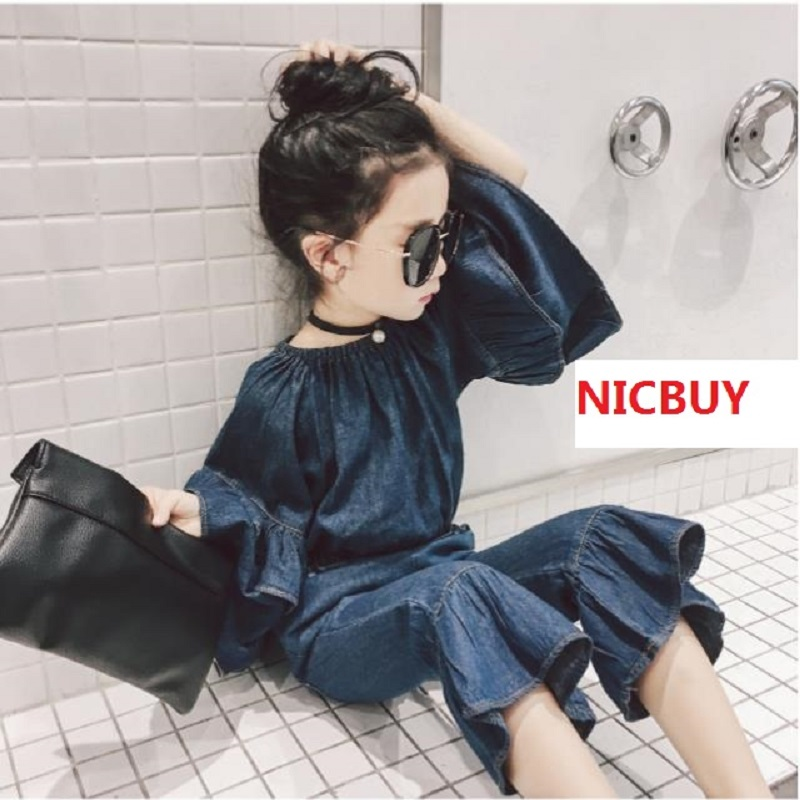 Girl's suit, 2018 spring dress new Korean version of loose one word collar jeans two pieces. free shipping factory direct sales good quality new spring summer 2016 korean version brand men straight jeans cheap wholesale