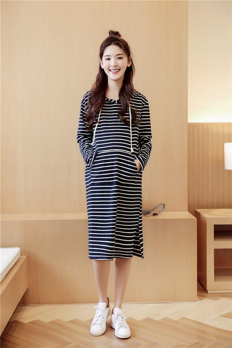 Z046 Long Maternity Dress Plus Size Pregnant Dress Autumn Winter